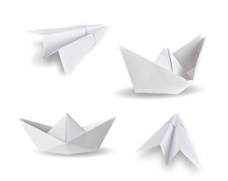 set of paper ship and paper plane on white photo