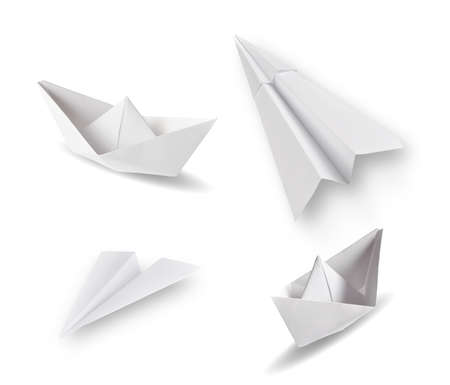 set of paper ships and paper planes on white photo