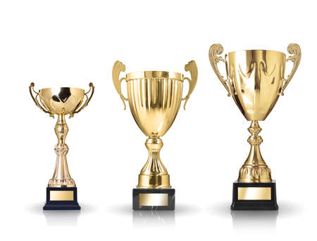 three different kind of golden trophies  Isolated on white background 版權商用圖片