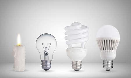 evolucion: Vela, l�mpara de tungsteno, bombilla fluorescente y bombilla LED