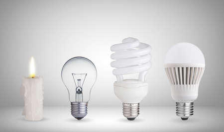 evolucion: Vela, lámpara de tungsteno, bombilla fluorescente y bombilla LED