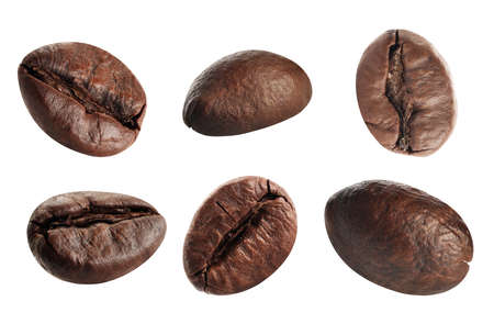 Close up coffee beans  Isolated on white background  Stock Photo