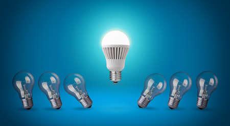 Row with light bulbs and LED bulb