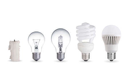 Candle-, Wolfram-Glühlampe, Leuchtstoff-, Halogen-und LED-Lampe Standard-Bild