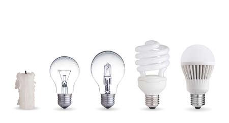 Vela, lámpara de tungsteno, fluorescente, halógeno y bombilla LED Foto de archivo