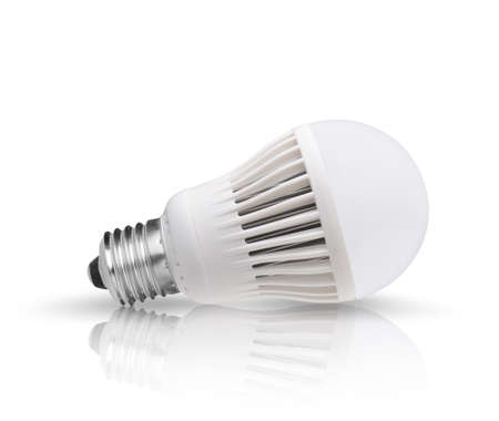 electric light: Led bulb with reflection on the ground