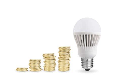 Money saved with LED bulb  Isolated on white background photo