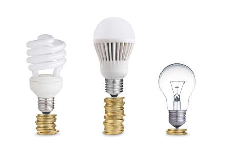 power of money: Money saved in different kinds of light bulbs  Isolated on white