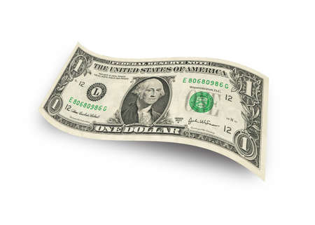 白い背景に分離された 1 ドル紙幣