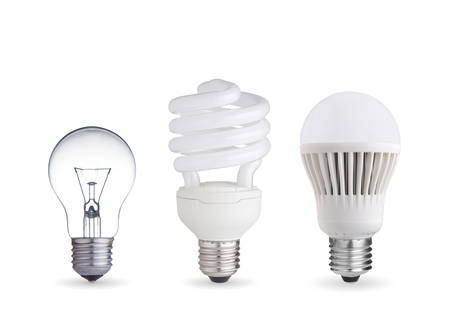 tungsten bulb,fluorescent bulb and LED bulb Stock Photo