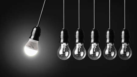 Perpetual motion with LED bulb and simple light bulbs Banco de Imagens - 24835185