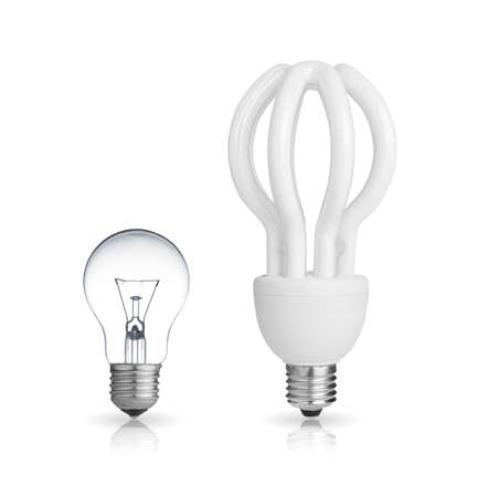 energy saving light bulb and tungsten bulb isolated on white photo