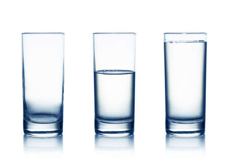 Empty,half and full water glasses   Isolated on white