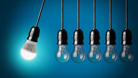Perpetuum mobile met LED lamp en eenvoudige gloeilampen Stockfoto