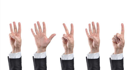 proceed: Businessman counting hands  Isolated on white background Stock Photo