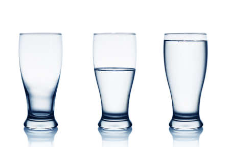 relative: Isolated on white empty, half and full water glasses