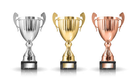 bronze background: golden,silver and bronze trophies isolated on white background Stock Photo