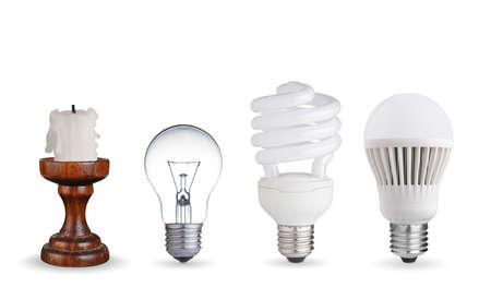Vela, lâmpada de tungstênio, lâmpada fluorescente e lâmpada LED