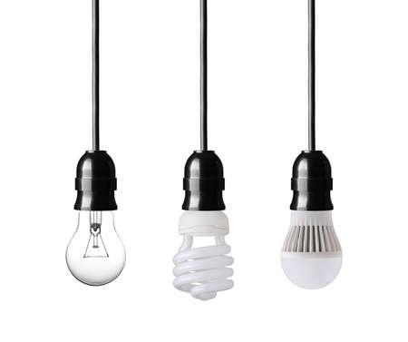 electric bulb: Light bulb, energy saver bulb and LED bulb on white