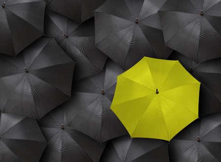 yellow umbrella: blacks and yellow umbrella