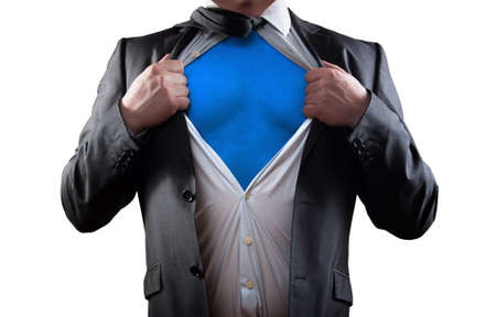 Businessman super hero isolated on white background photo