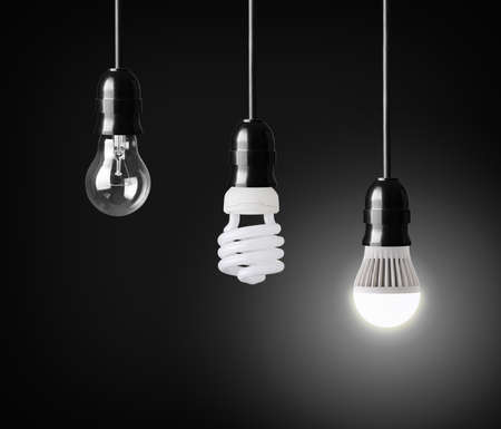 Light bulb,energy saver bulb and LED bulb on black
