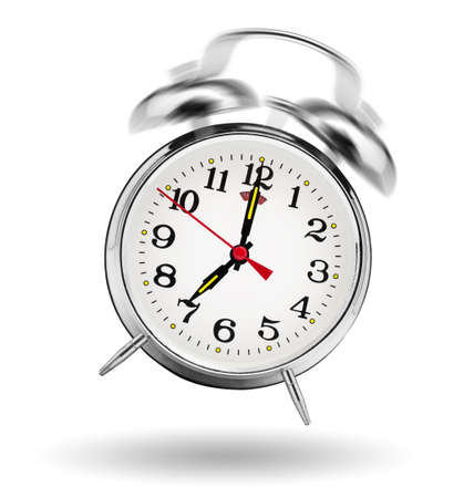 clock: classical alarm clock ringing on white background  Stock Photo