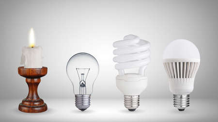 Candela, lampada al tungsteno, lampadina fluorescente e la lampadina LED Archivio Fotografico - 25832655
