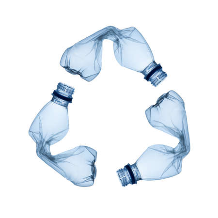 Concept of recycle Empty used plastic bottle on white background  photo