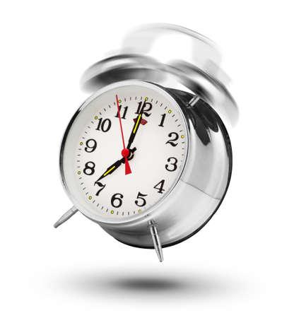 Ringing classical alarm clock isolated on white background Archivio Fotografico