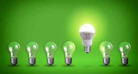 電球の行。緑色の背景でアイデアの概念。
