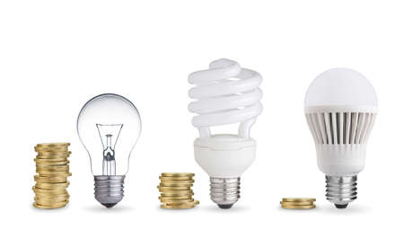 money spent in different light bulbs.Isolated on white Stock Photo