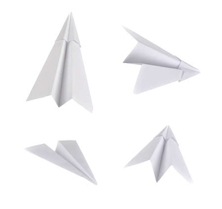 Set of real photos on paper planes  Isolated on white background   Stock Photo