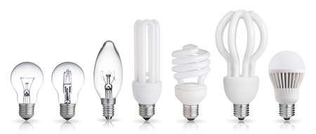 백열등, 할로겐, 형광등, 흰색 배경에 고립 된 LED 전구 세트 스톡 콘텐츠
