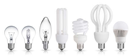 set of incandescent, halogen, compact fluorescent, LED light bulbs isolated on white background