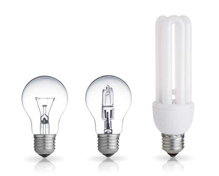 fluorescent: three different bulbs isolated on white background
