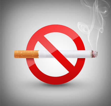 quit: No Smoking Sign on gray background Stock Photo
