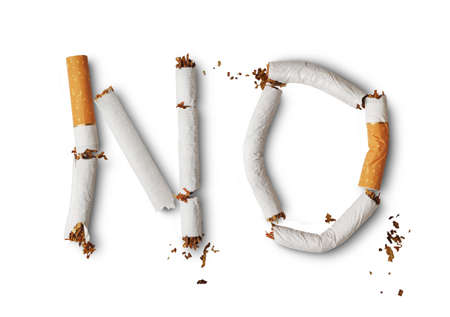 Text No made from broken cigarettes