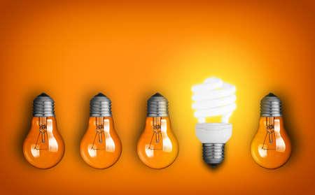 save energy: Idea concept with row of light bulbs  Stock Photo