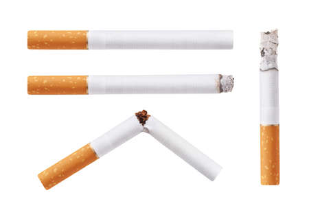 Set of cigarettes  Isolated on white background photo