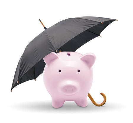 protect: Black umbrella protect piggy bank  Isolated on white
