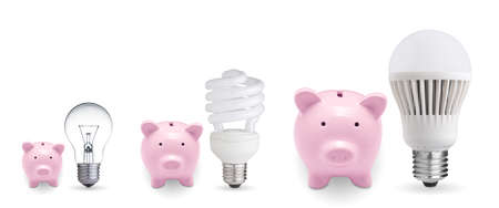 Piggy banks and different light bulbs  Concept for saving money  photo