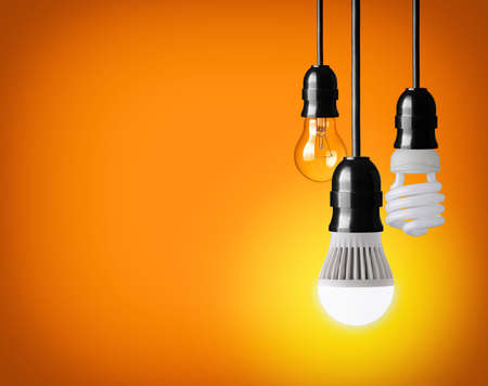 hanging tungsten light bulb, energy saving and LED bulb  photo