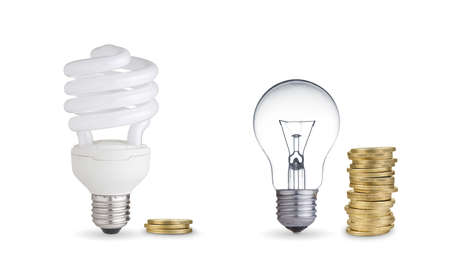 money spent in different light bulbs Isolated on white  photo