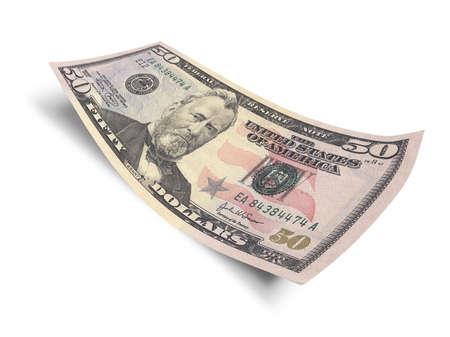 白い背景上に分離されて 50 ドル紙幣