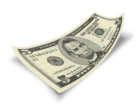 cinq billets d'un dollar isolé sur fond blanc