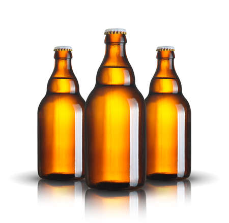 beer bottles isolated on white background