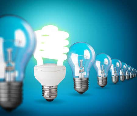unique concept: Idea concept with light bulbs on blue