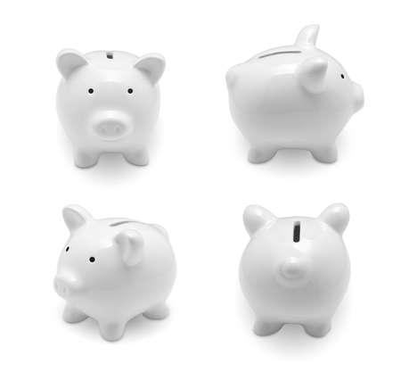 cuenta bancaria: Conjunto de hucha aislados sobre fondo blanco Foto de archivo
