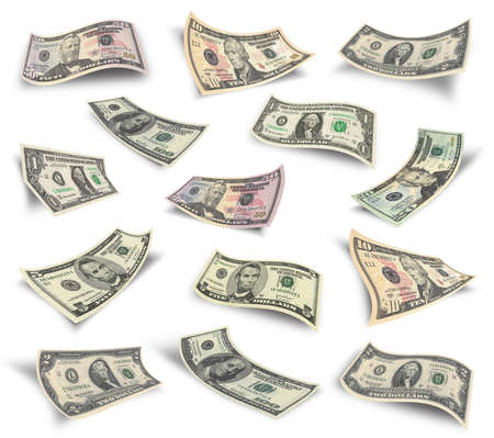 50 dollar bill: Collection of dollar banknotes  Isolated over white  Stock Photo